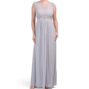 Adrianna Papell Lace Illusion Gown - Silver